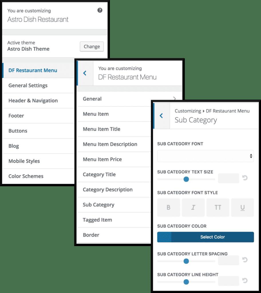 Sub category settings for Customiser