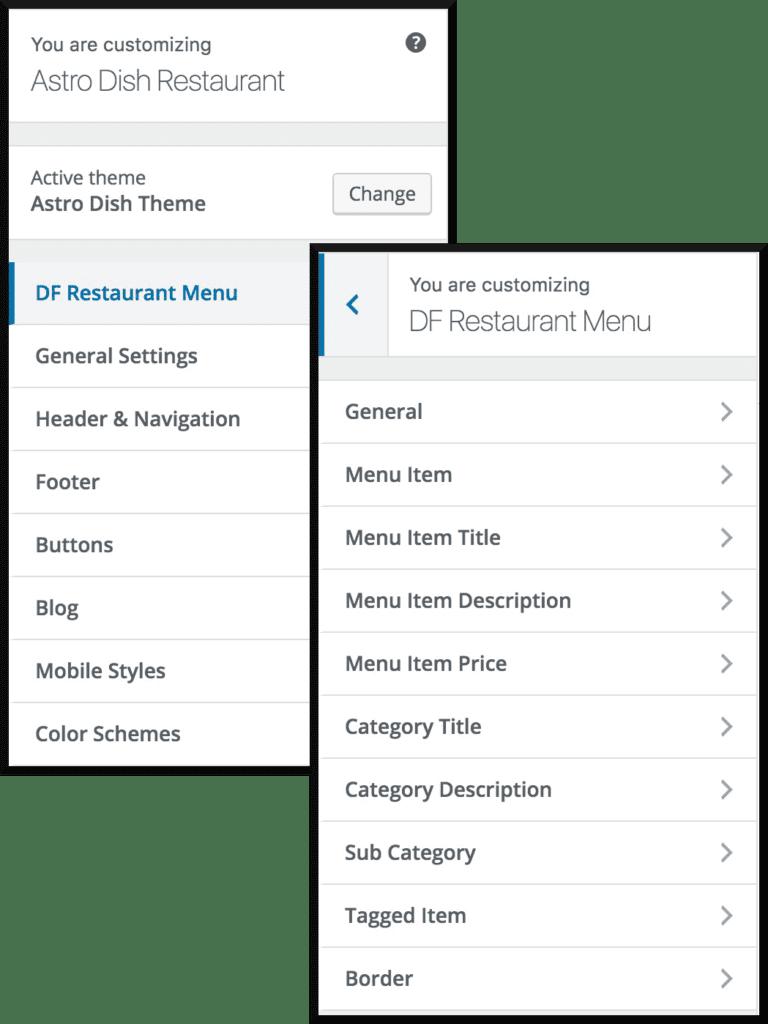 The Theme Customiser Settings for the Restaurant Menu Plugin