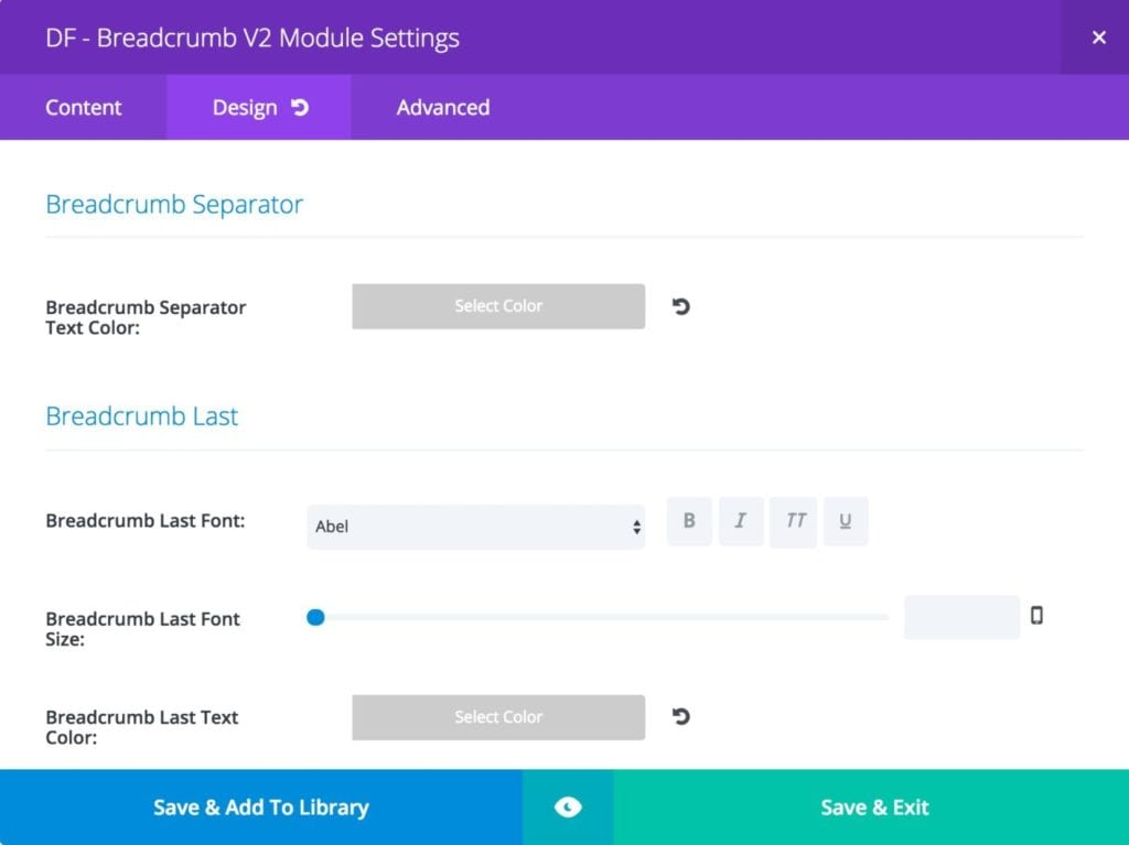 Breadcrumb Module - Design Settings - Breadcrumb Separator