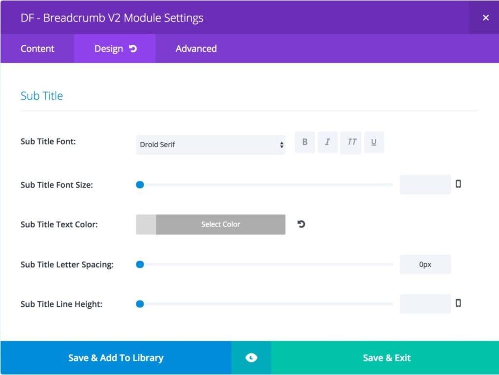 Breadcrumb Module - Design Settings - Sub Title