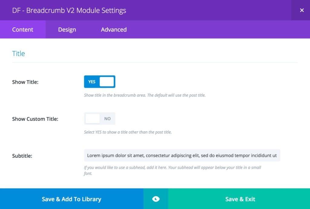 Breadcrumb Module - Title Settings