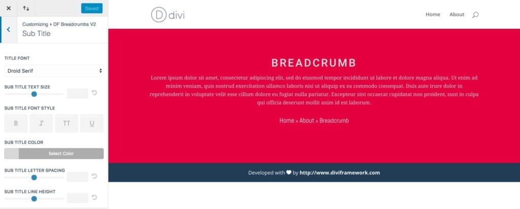 Breadcrumb Sub Title Options